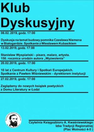 plakat Klubu Dyskusyjnego