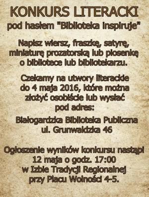 "Konkurs literacki ""Biblioteka inspiruje"""